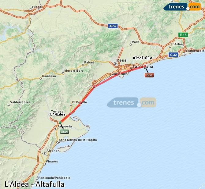 Enlarge map Trains L'Aldea to Altafulla