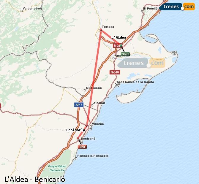 Enlarge map Trains L'Aldea to Benicarló