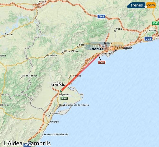 Karte vergrößern Züge L'Aldea Cambrils