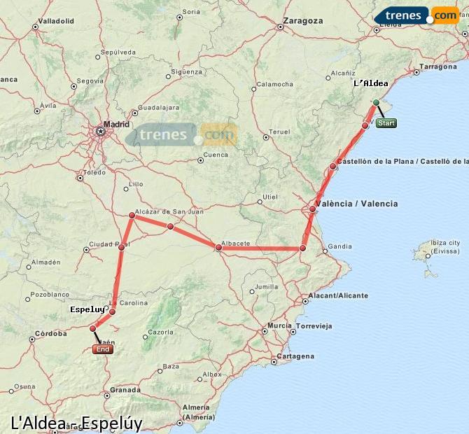 Enlarge map Trains L'Aldea to Espelúy