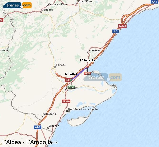 Ingrandisci la mappa Treni L'Aldea L'Ampolla