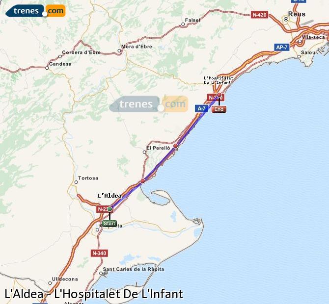 Ingrandisci la mappa Treni L'Aldea L'Hospitalet De L'Infant