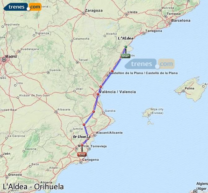 Agrandir la carte Trains L'Aldea Orihuela