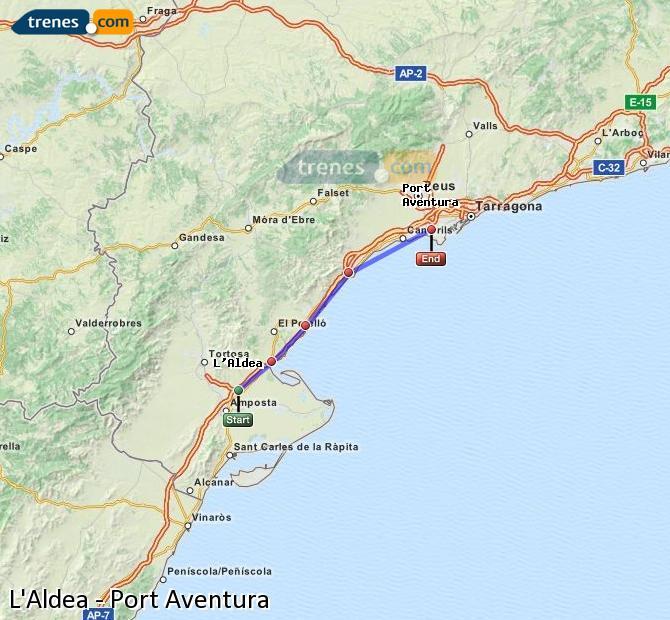 Ingrandisci la mappa Treni L'Aldea Port Aventura