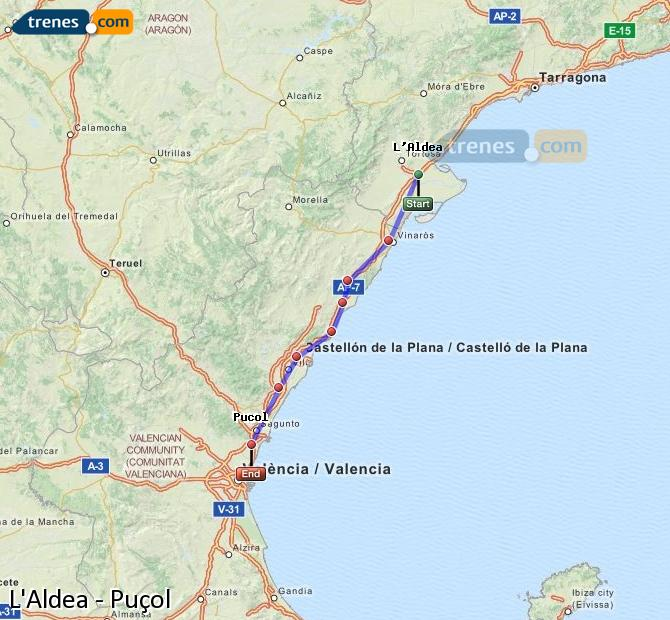 Enlarge map Trains L'Aldea to Puçol
