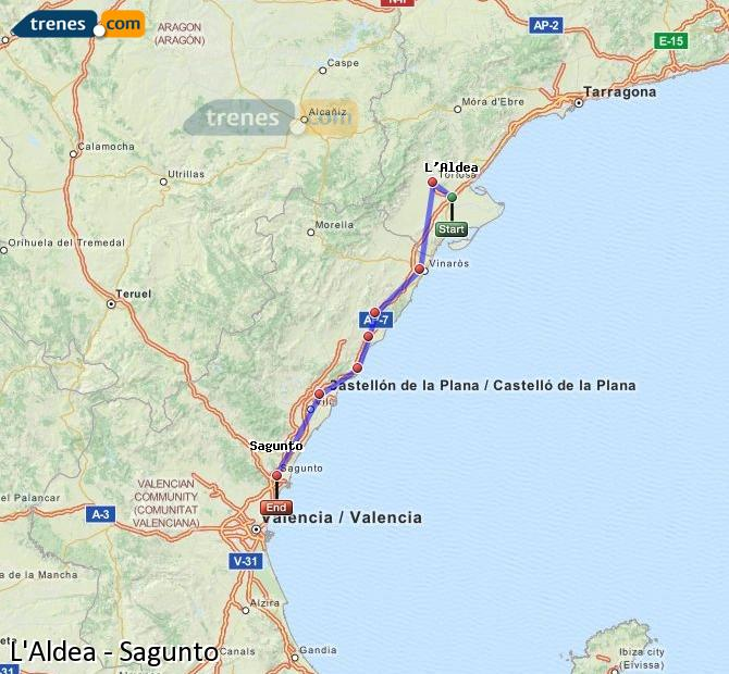 Enlarge map Trains L'Aldea to Sagunto