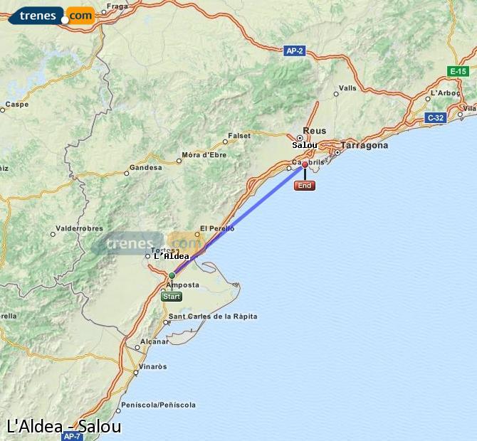 Ingrandisci la mappa Treni L'Aldea Salou