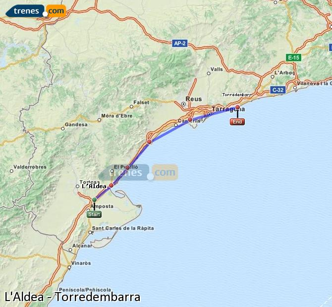 Karte vergrößern Züge L'Aldea Torredembarra
