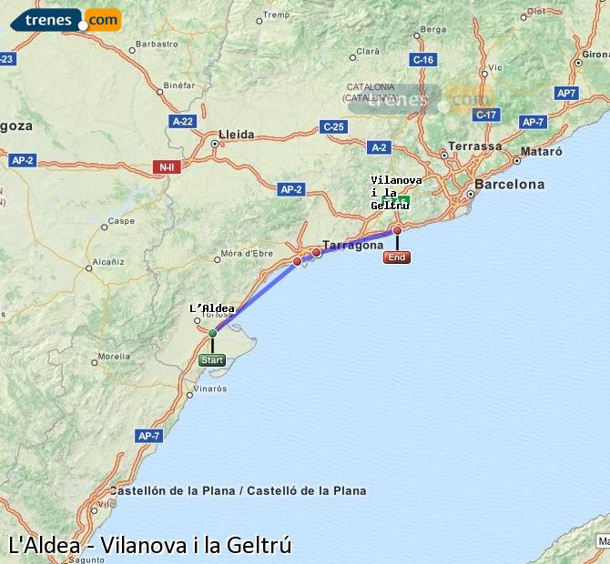 Enlarge map Trains L'Aldea to Vilanova i la Geltrú