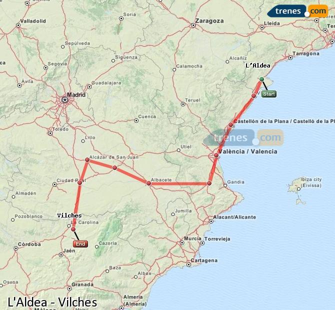 Ampliar mapa Trenes L'Aldea Vilches