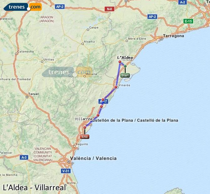 Karte vergrößern Züge L'Aldea Villarreal