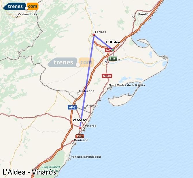 Enlarge map Trains L'Aldea to Vinaròs
