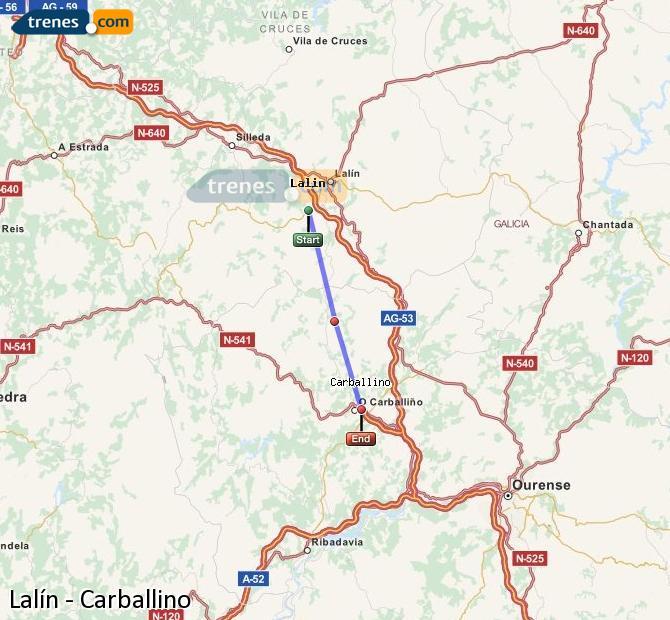 Ingrandisci la mappa Treni Lalín Carballino