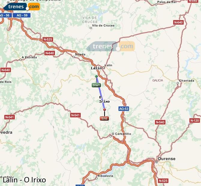 Enlarge map Trains Lalín to O Irixo