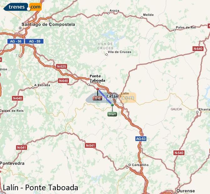 Enlarge map Trains Lalín to Ponte Taboada