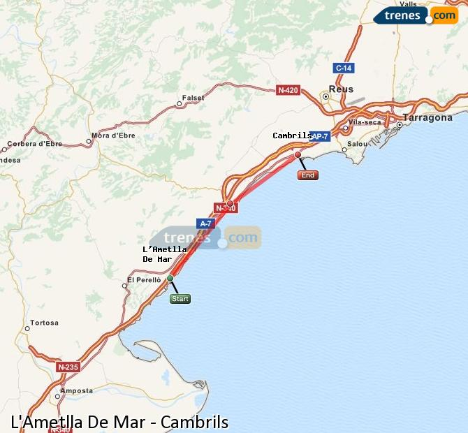 Enlarge map Trains L'Ametlla De Mar to Cambrils