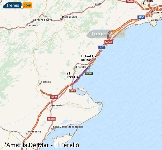 Ampliar mapa Trenes L'Ametlla De Mar El Perelló