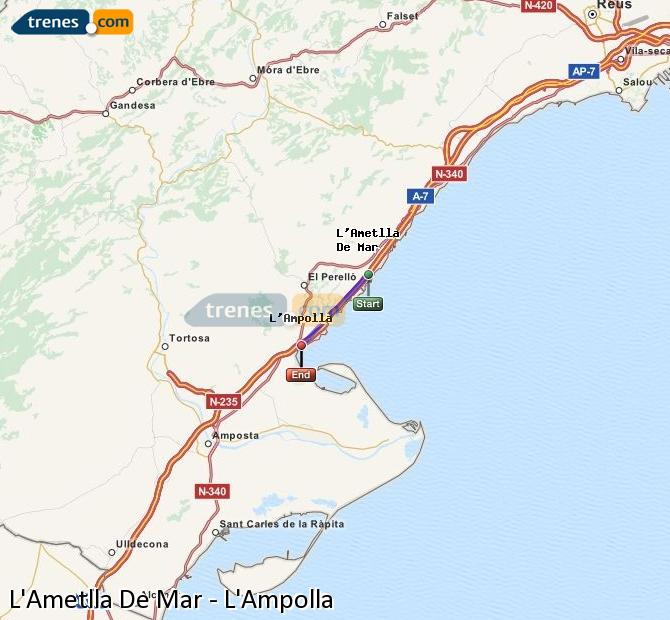 Enlarge map Trains L'Ametlla De Mar to L'Ampolla