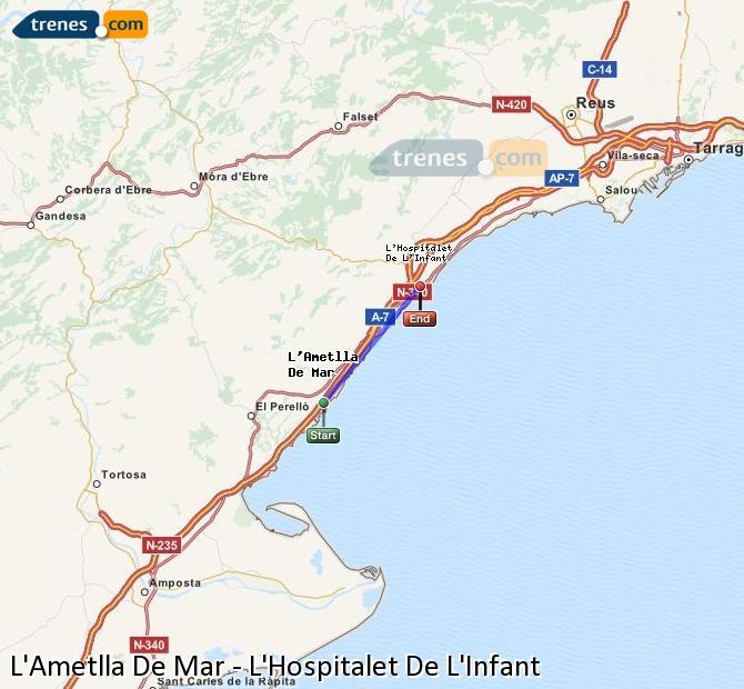 Enlarge map Trains L'Ametlla De Mar to L'Hospitalet De L'Infant