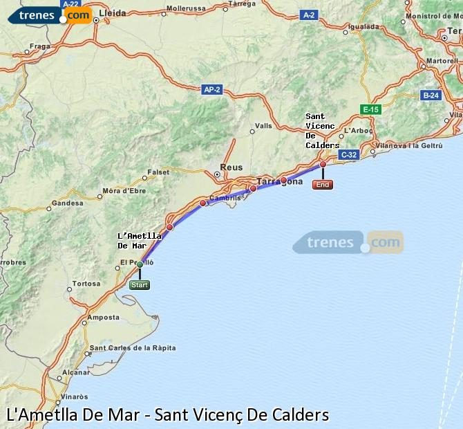 Enlarge map Trains L'Ametlla De Mar to Sant Vicenç De Calders