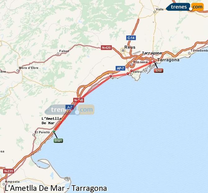 Ingrandisci la mappa Treni L'Ametlla De Mar Tarragona