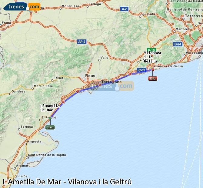 Enlarge map Trains L'Ametlla De Mar to Vilanova i la Geltrú