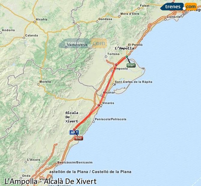 Ampliar mapa Trenes L'Ampolla Alcalà De Xivert