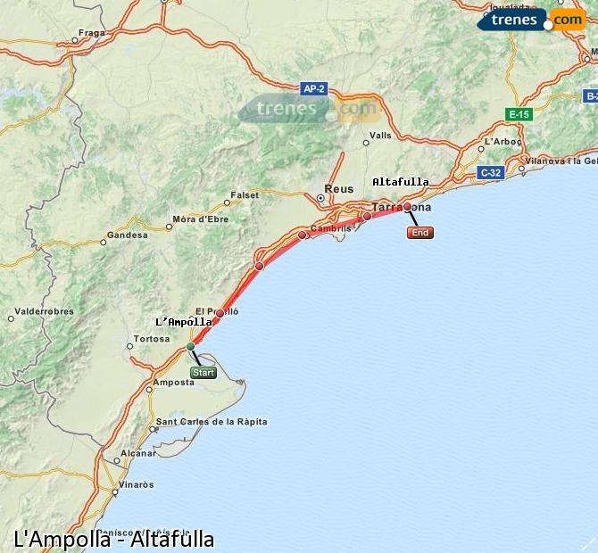 Ampliar mapa Trenes L'Ampolla Altafulla