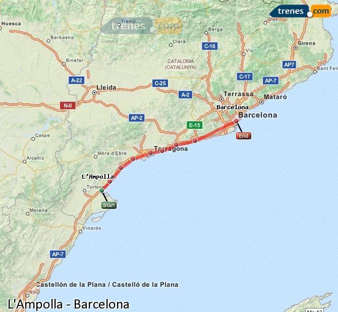 Ampliar mapa Trenes L'Ampolla Barcelona