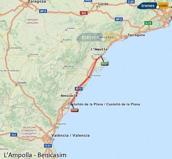 Ampliar mapa Trenes L'Ampolla Benicasim