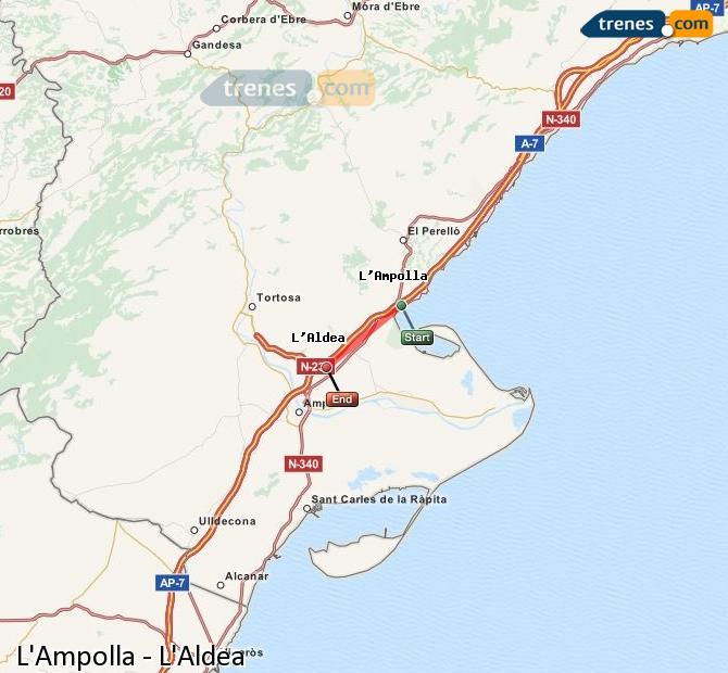 Ampliar mapa Comboios L'Ampolla L'Aldea