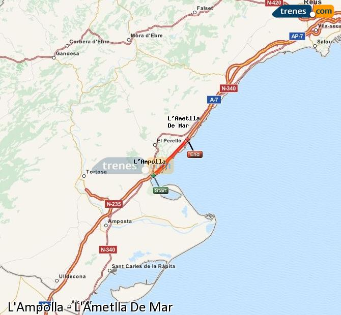 Karte vergrößern Züge L'Ampolla L'Ametlla De Mar
