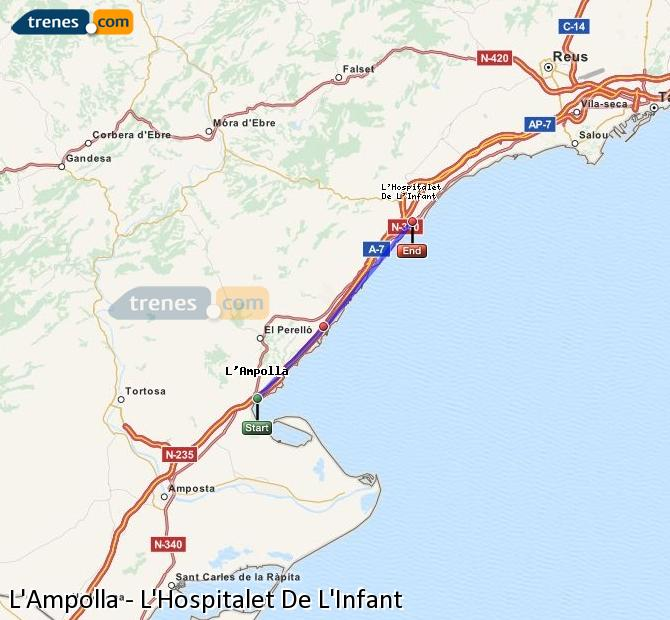 Enlarge map Trains L'Ampolla to L'Hospitalet De L'Infant