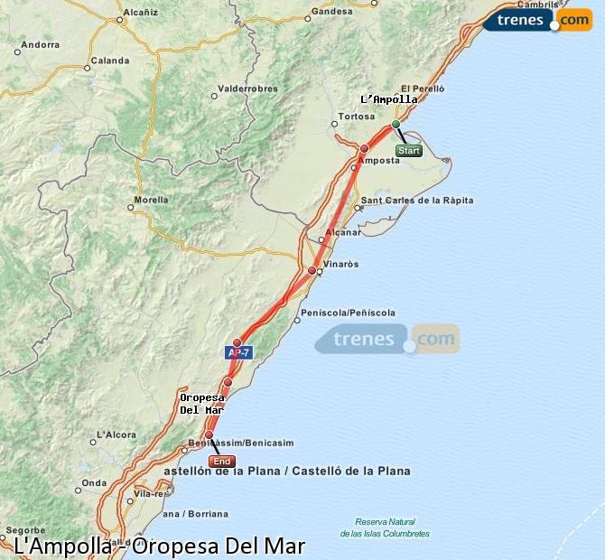 Ampliar mapa Trenes L'Ampolla Oropesa Del Mar