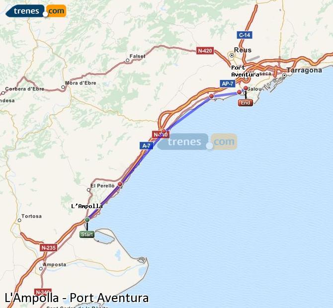 Karte vergrößern Züge L'Ampolla Port Aventura