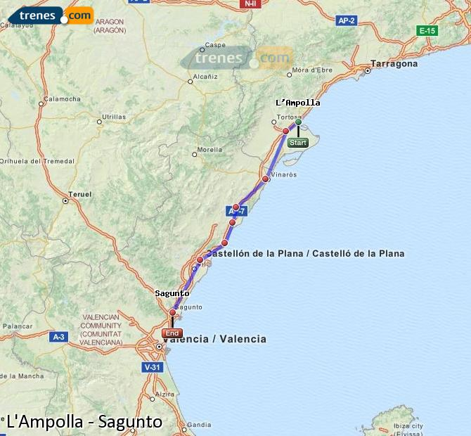Ampliar mapa Trenes L'Ampolla Sagunto
