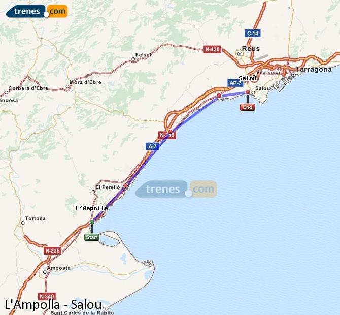Ampliar mapa Trenes L'Ampolla Salou