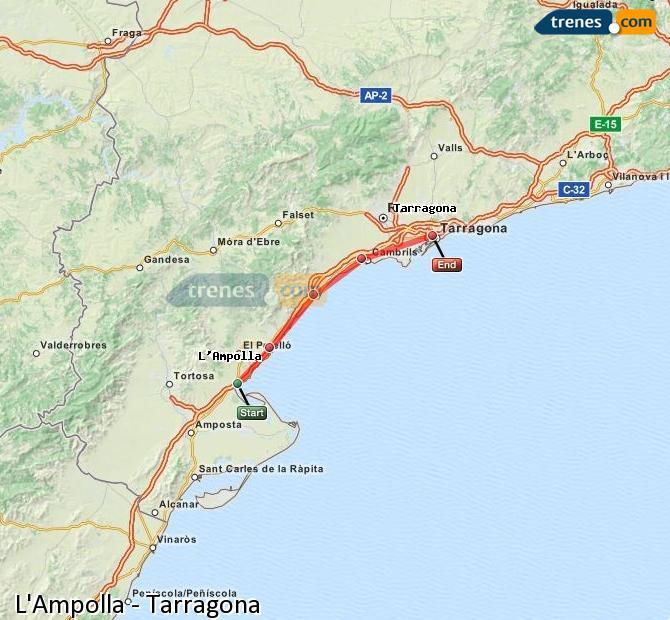 Ampliar mapa Trenes L'Ampolla Tarragona