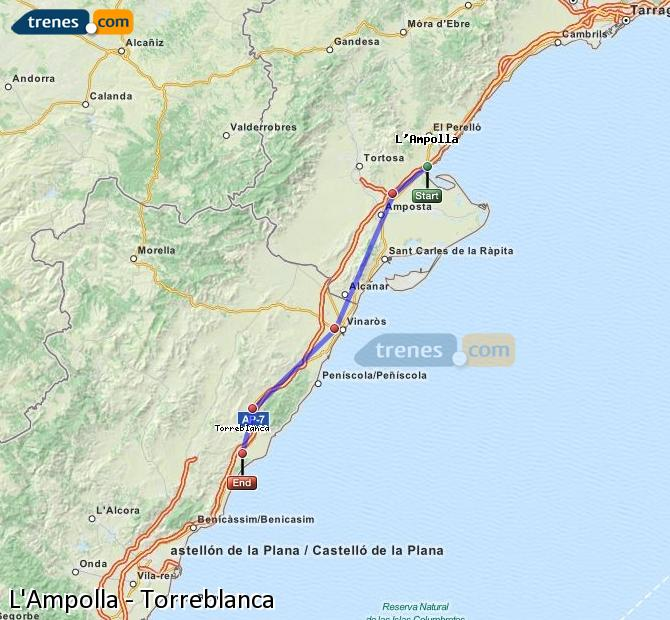 Ampliar mapa Trenes L'Ampolla Torreblanca