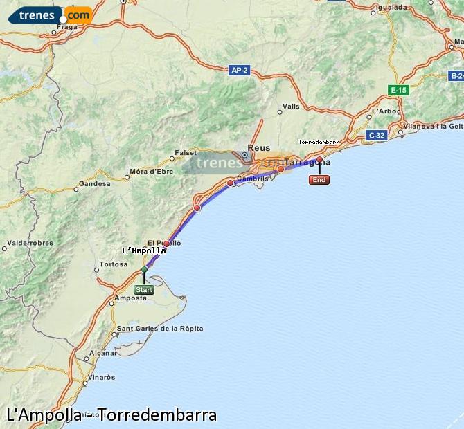 Ampliar mapa Trenes L'Ampolla Torredembarra