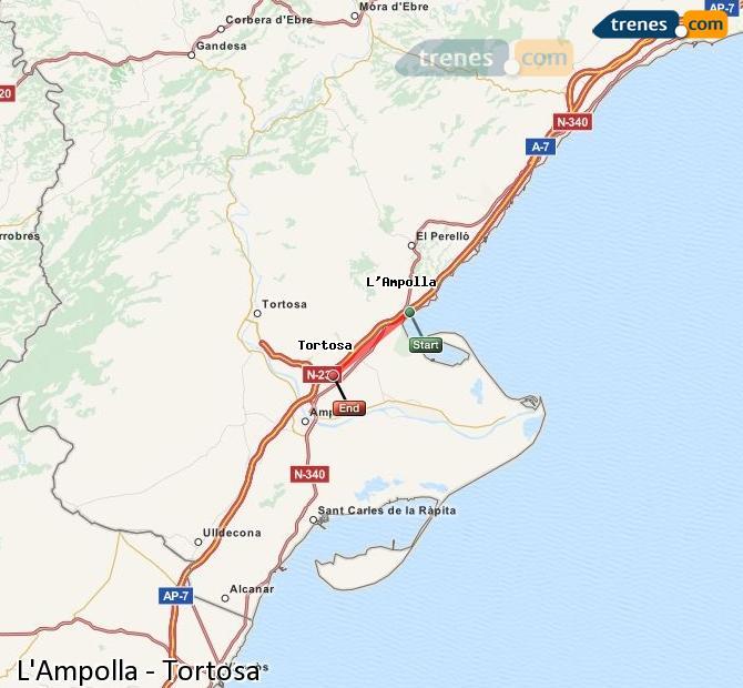 Karte vergrößern Züge L'Ampolla Tortosa