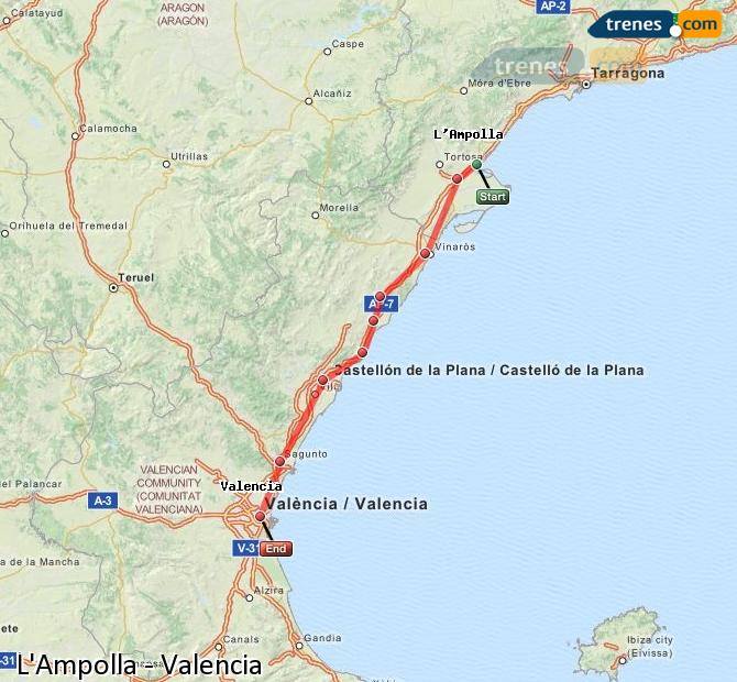 Enlarge map Trains L'Ampolla to Valencia