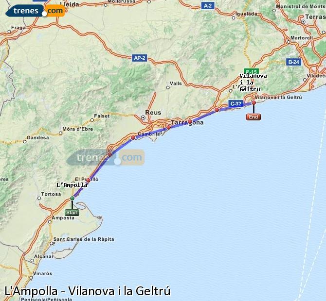 Enlarge map Trains L'Ampolla to Vilanova i la Geltrú