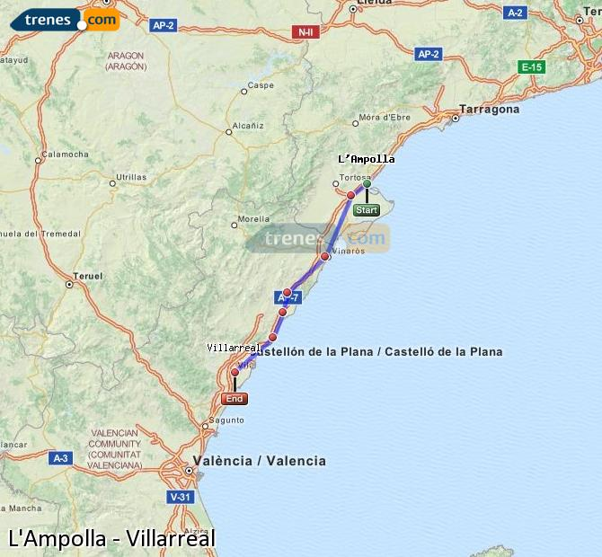 Enlarge map Trains L'Ampolla to Villarreal