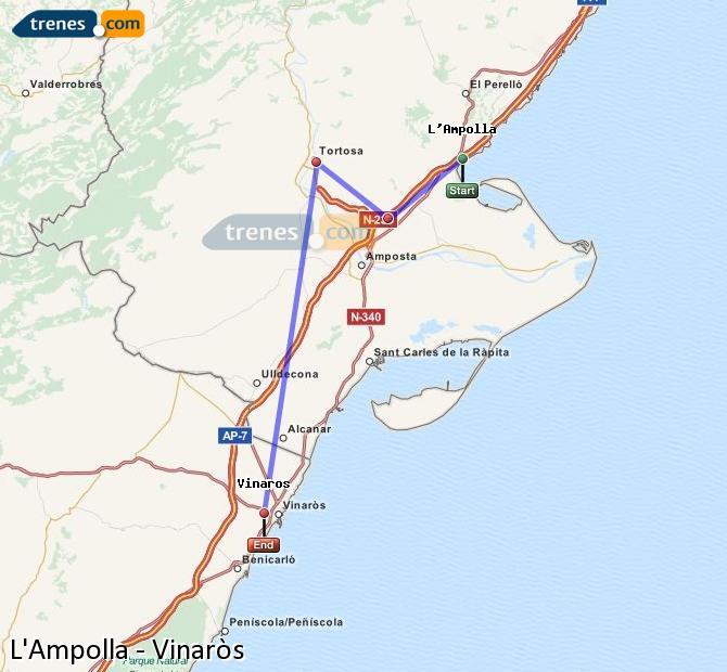Ampliar mapa Trenes L'Ampolla Vinaròs