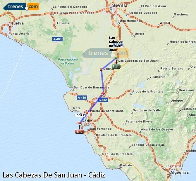 Ampliar mapa Comboios Las Cabezas De San Juan Cádiz