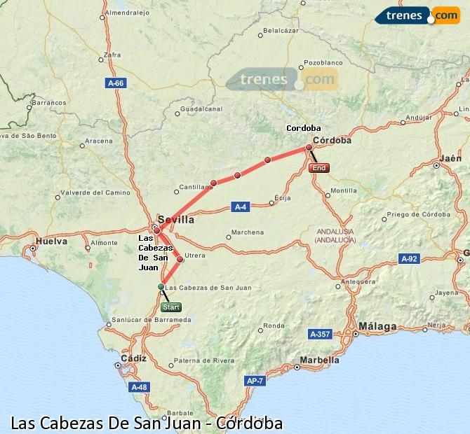 Karte vergrößern Züge Las Cabezas De San Juan Córdoba