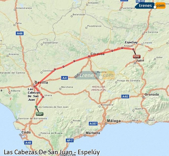 Ingrandisci la mappa Treni Las Cabezas De San Juan Espelúy