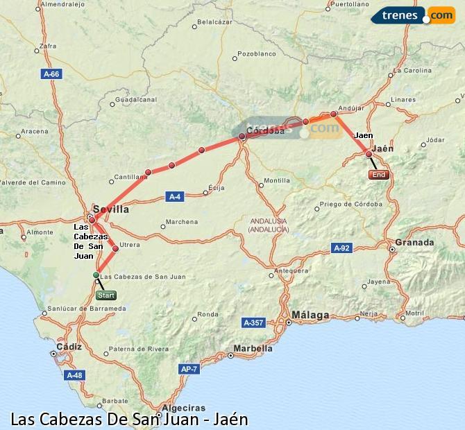 Ampliar mapa Comboios Las Cabezas De San Juan Jaén