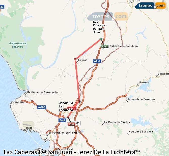 Agrandir la carte Trains Las Cabezas De San Juan Jerez De La Frontera